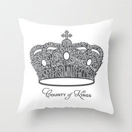 County of Kings | Brooklyn NYC Crown (GREY) Throw Pillow