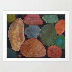 Lovely colourful Stones on dark Background Art Print