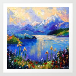 Flowers on the shore of a mountain lake Art Print