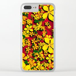Orange & Yellow Flowers on Red Clear iPhone Case