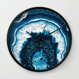 Blue White Agate with Blue Glitter #1 #gem #decor #art #society6 Wall Clock