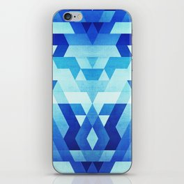 Abstract geometric triangle pattern (futuristic future symmetry) in ice blue iPhone Skin
