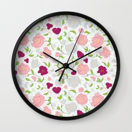 Positively Peonies Floral Pattern Wall Clock