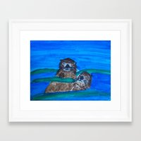 otters Framed Art Prints featuring Sea Otters by Anna Kozlowski