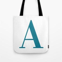 Teal Letter A Initial Monogram Tote Bag