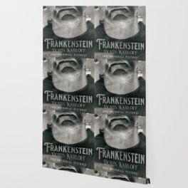 Frankenstein, vintage movie poster, Boris Karloff, horror film, Mary Shelley book cover Wallpaper