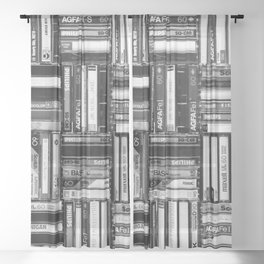 Music Cassette Stacks - Black and White - Something Nostalgic IV #decor #society6 #buyart Sheer Curtain