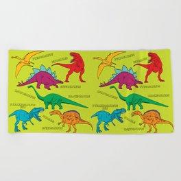 Dinosaur Print - Colors Beach Towel
