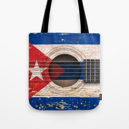 Old Vintage Acoustic Guitar with Cuban Flag Tote Bag