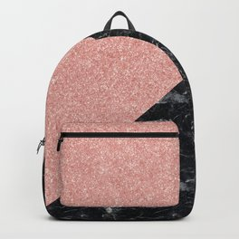 Faux Rose Glitter and Marble Pattern Backpack