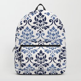 Feuille Damask Pattern Blues on Cream Backpack