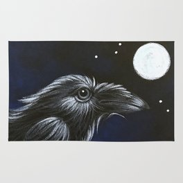 RAVEN CROW BIRD - FULL MOON & STARS Rug