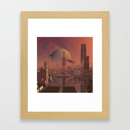 Futuristic City with Space Ships Framed Art Print