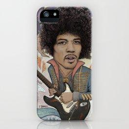 Jimi Hendrix - 11 Moons Played Across The Rainbows iPhone Case