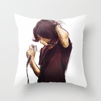 alex turner Throw Pillows featuring alex turner [7] [humbug] by roanne Q