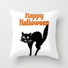 Happy Halloween - Black Cat Throw Pillow