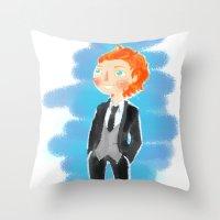 tom hiddleston Throw Pillows featuring Tom Hiddleston - Ehehehe! by Delucienne Maekerr