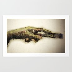 Painters hand with brush Art Print