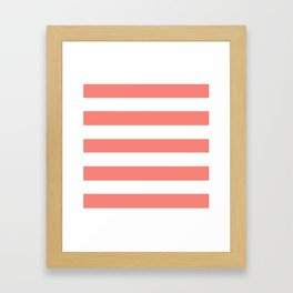 Congo pink - solid color - white stripes pattern Framed Art Print