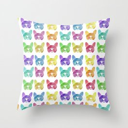 Watercolor French Bulldogs - Frenchie dogs - #frenchbulldogs Throw Pillow