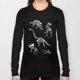 Dinosaur Fossils on Black Long Sleeve T-shirt