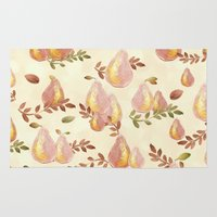 copper Area & Throw Rugs featuring Copper Pears by Lisa Argyropoulos