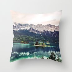 Green Blue Lake and Mountains - Eibsee, Germany Throw Pillow