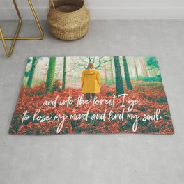 and into the forest i go, to lose my mind and find my soul-john muir-english forest Rug