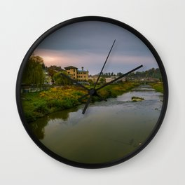 Evening at the river Wall Clock