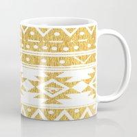 golden girls Mugs featuring GOLDEN TRIBAL by Nika