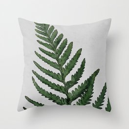 Botanical Forest Sage Green Vintage Leaf Fern, Watercolor Wall Art Farmhouse Rustic Country Nature Throw Pillow