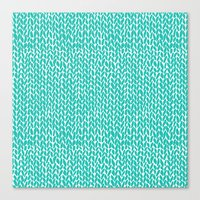 Hand Knit Aqua Canvas Print