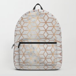 Geometric Hive Mind Pattern - Marble & Rose Gold #789 Backpack