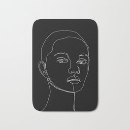 Face one line black and white illustration - Cody Bath Mat