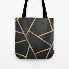 Dark Grey and Gold Textured Fragments - Geometric Design Tote Bag