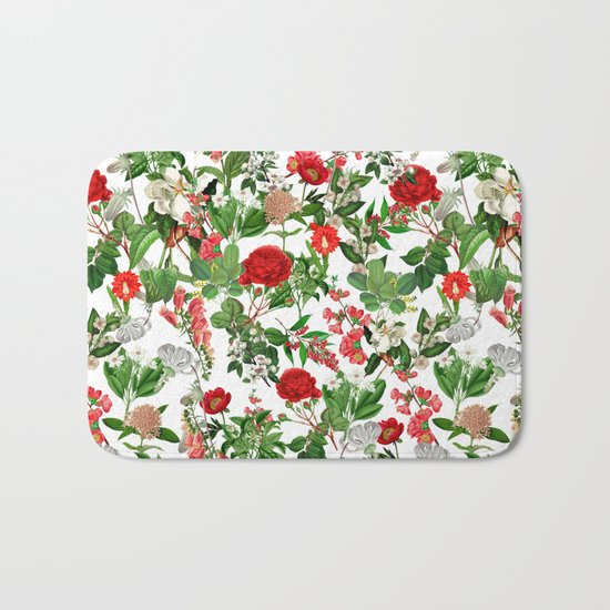 Seamles Botanical Pattern Bath Mat