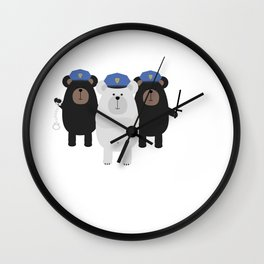Grizzly Police Officer Wall Clock