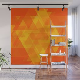 Bright orange and yellow triangles in the intersection and overlay. Wall Mural