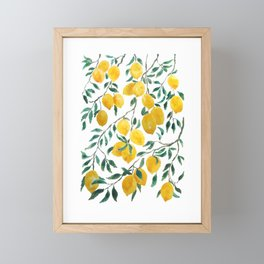 yellow lemon watercolor 2020 Framed Mini Art Print