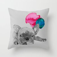 french bulldog Throw Pillows featuring French Bulldog  by Olivia James