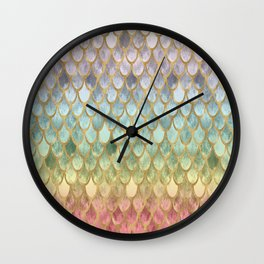 Rainbow Marble Mermaid Scales Wall Clock