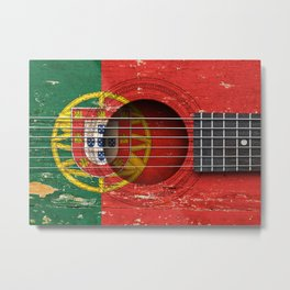 Old Vintage Acoustic Guitar with Portuguese Flag Metal Print