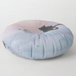 Watching a Hopeful Sunset Floor Pillow