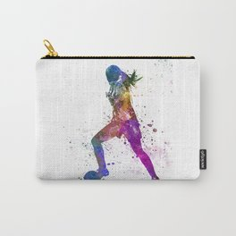 Girl playing soccer football player silhouette Carry-All Pouch