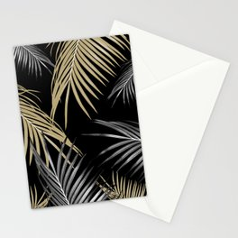 Gold Gray Palm Leaves Dream #1 #tropical #decor #art #society6 Stationery Cards