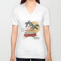 surfing V-neck T-shirts featuring Surfing by Julia