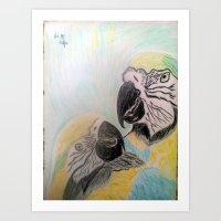 TROPICAL PARROTS-Coloured pencils art Art Print