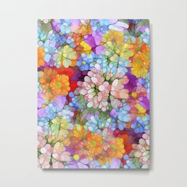 Rainbow Flower Shower Metal Print