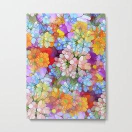 Rainbow Flower Shower Metal Print