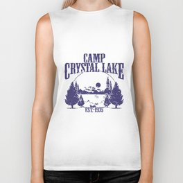CAMP CRYSTAL LAKE Mens Hooded Sweatshirt all sizes  funny creepy scary halloween friday jason voorhe Biker Tank